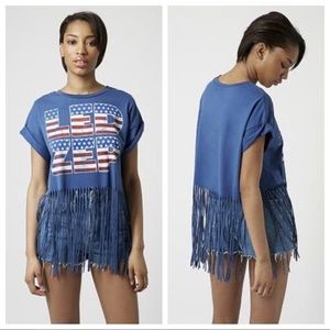 Topshop Led Zep Fringe Band Tee